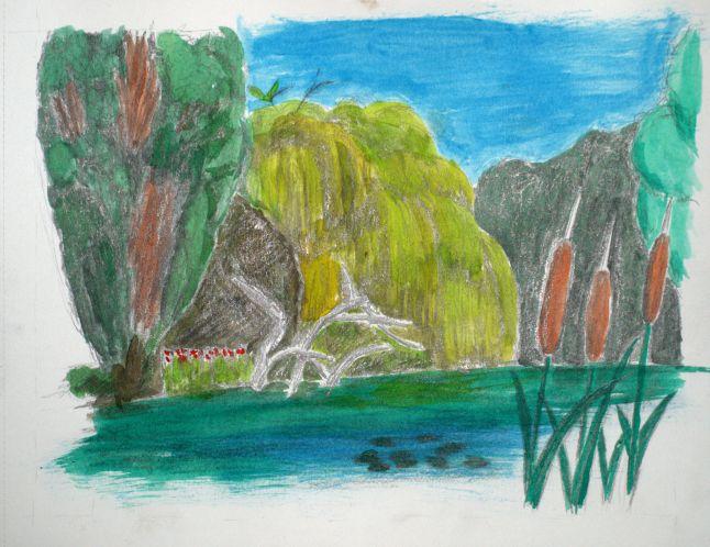 Ingekleurde tekening Flevopark